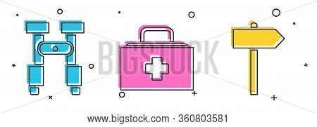 Set Binoculars, First Aid Kit And Road Traffic Signpost Icon. Vector