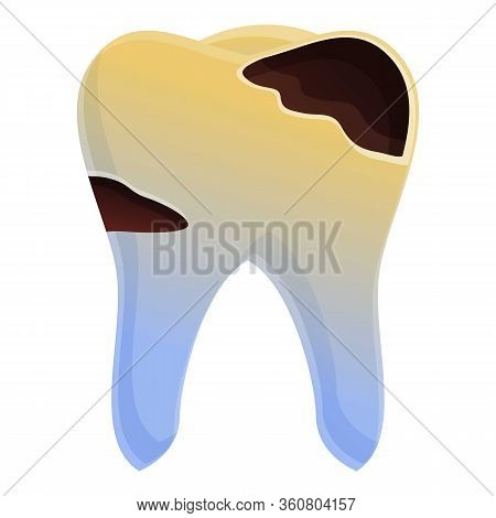 Tooth Decay Icon. Cartoon Of Tooth Decay Vector Icon For Web Design Isolated On White Background
