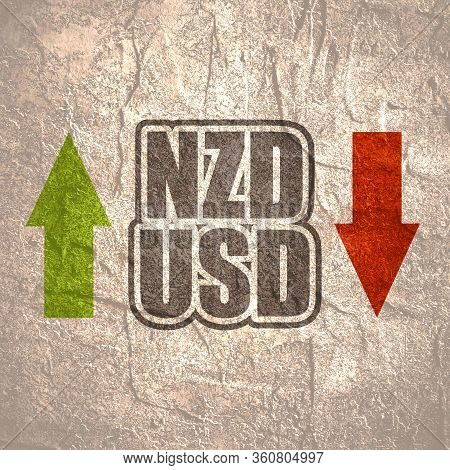 Financial Market Trading Concept. Currency Pair. Acronym Nzd - New Zealand Dollar Currency. Acronym
