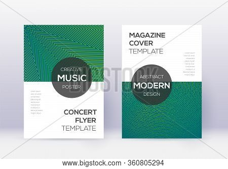Modern Cover Design Template Set. Green Abstract Lines On Dark Background. Exceptional Cover Design.