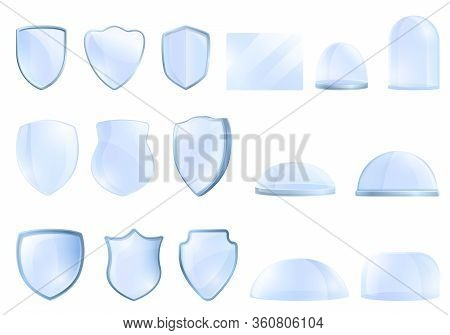 Protective Glass Icons Set. Cartoon Set Of Protective Glass Vector Icons For Web Design