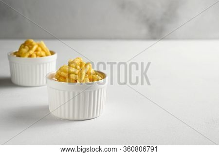 National Food Cuisine Of The Middle East. Two Ramekin With Chak Chak On A White Table. Horizontal Or