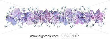Decorative Floral Border With Purple Flowers With Buds And Small Light Blue Florets On White Backgro