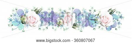 Decorative Floral Border With Softness Roses And Purple Flowers With Buds And Small Light Blue Flore