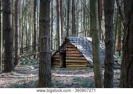 Cabin In The Forest Of Logs. Dugout In The Forest. Russia