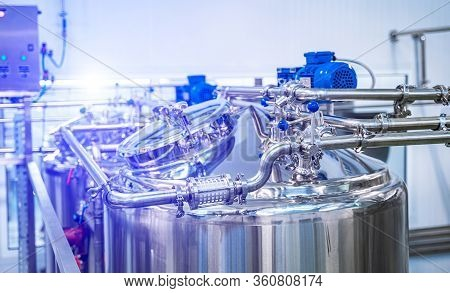 The System Of Milk Pasteurization. Food And Drinks Production Plant. Heat Treatment. Pasteurization