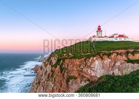 Cabo Da Roca, Sintra, Portugal. Lighthouse And Cliffs Over Atlantic Ocean, The Most Westerly Point O