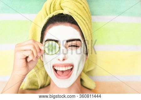 Happy Girl Applying Facial Cleanser Mask - Young Woman Having Skin Care Spa Day - Beauty Clean Treat