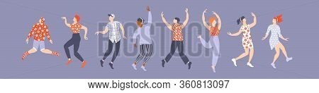 Set Of Dancing Young People. Simple Silhouettes On Purple Backround. Men And Women. Flat Vector Illu