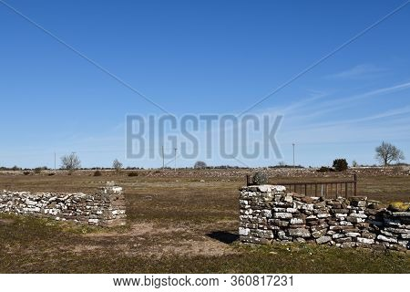 Old Dry Stone Wall With A Gate In The Southern Part Of The Island Oland In Sweden