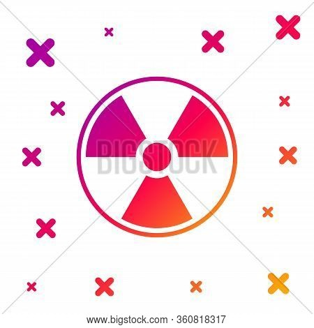 Color Radioactive Icon Isolated On White Background. Radioactive Toxic Symbol. Radiation Hazard Sign