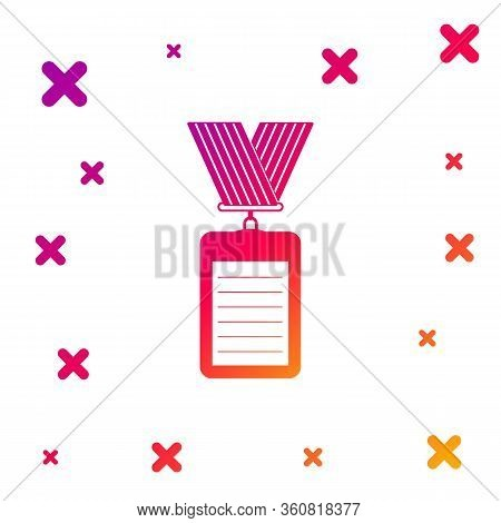 Color Identification Badge With Lanyard Icon On White Background. Identification Card. It Can Be Use