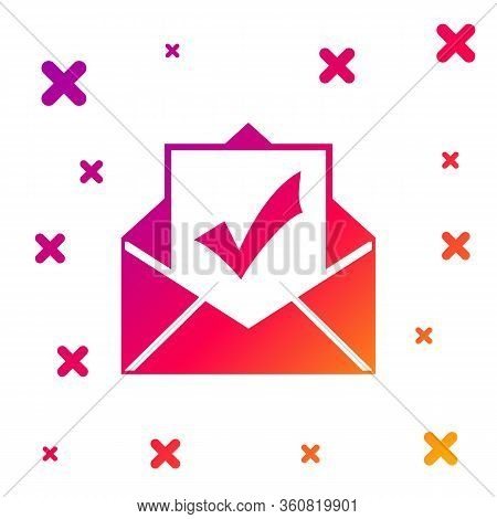 Color Envelope With Document And Check Mark Icon Isolated On White Background. Successful E-mail Del