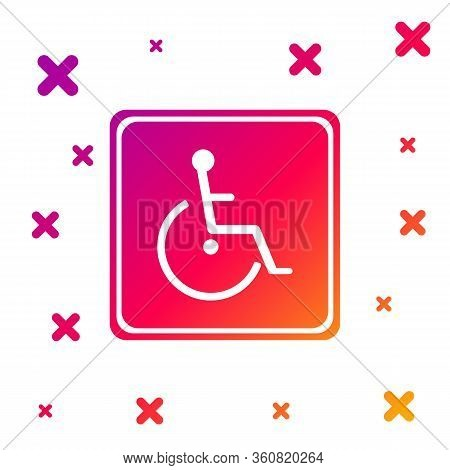Color Disabled Handicap Icon Isolated On White Background. Wheelchair Handicap Sign. Gradient Random