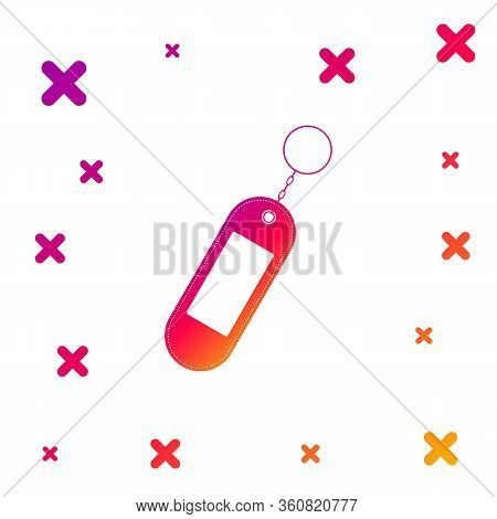 Color Key Chain Icon Isolated On White Background. Blank Rectangular Keychain With Ring And Chain Fo