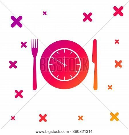 Color Plate With Clock, Fork And Knife Icon Isolated On White Background. Lunch Time. Eating, Nutrit