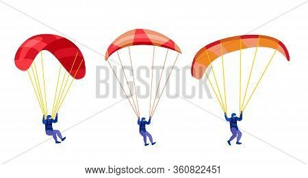 Paratroopers Descending With Parachutes Set. Paraglide And Parachute Jumping Characters On White, Pa
