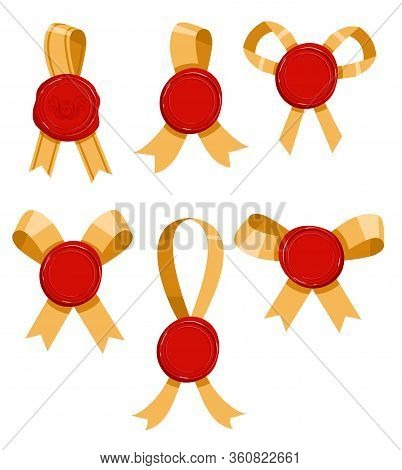 Vector Set Of Wax Seal Stamp Isolated On Background. Wax Seal With Ribbon Set. Candle Stamp Objects