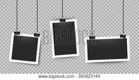 Realistic Photo Frames Clipped On Ropes. Retro 3d Picture Frame On White Border For Cameras Photogra