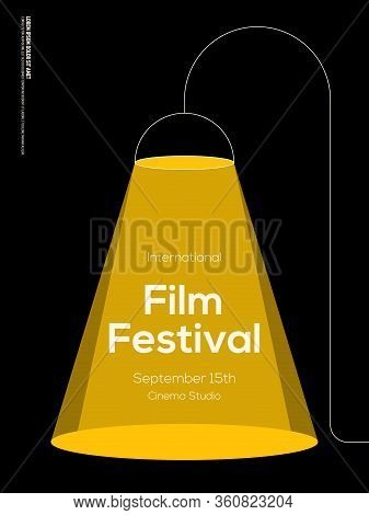 Movie And Film Poster Design Template Background With Vintage Lamp. Design Element Can Be Used For B