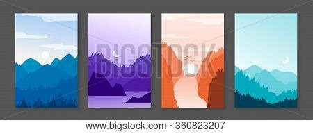 Mountains Posters. Rocky Mountains And Snowy Peaks, Banners With Cartoon Nature Outdoor Backdrop. Ve