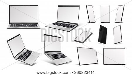 Realistic Gadgets. Laptop, Tablet Pc And Mobile Phone Devices Mockup, 3d Digital Gadgets With Blank