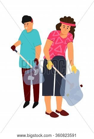 Recycling Characters. Vector Image Man And Woman Sort Trash. Gloved People Collect Garbage In Sortin