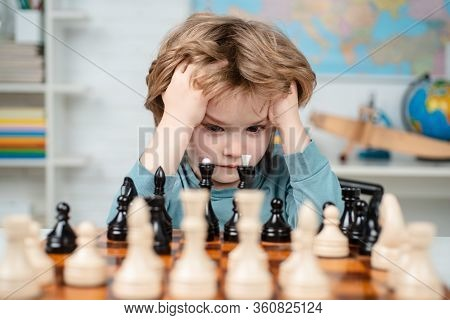 Boy Think Or Plan About Chess Game, Vintage Style For Education Concept. Child And Childhood. Clever