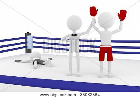 3D Boxer Winning A Match In A Boxing Ring With A Referee Lifting His Hand