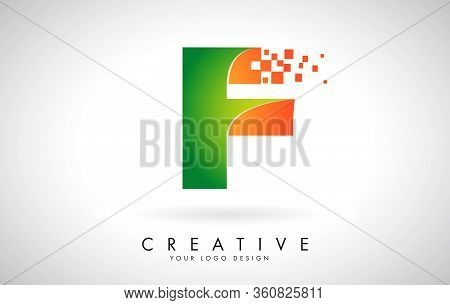 Letter F Logo Design In Bright Colors With Shattered Small Blocks On White Background.  Vector Illus