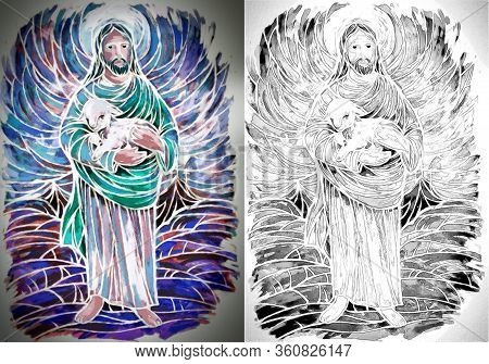 Calm Jesus Messiah And Resurrection With Nature Background