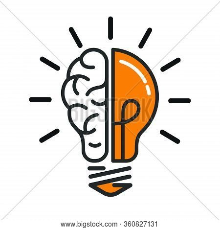 Left And Right Brain Hemispheres In A Light Bulb. Construction Of A Thought Or Idea. Stock Vector Il