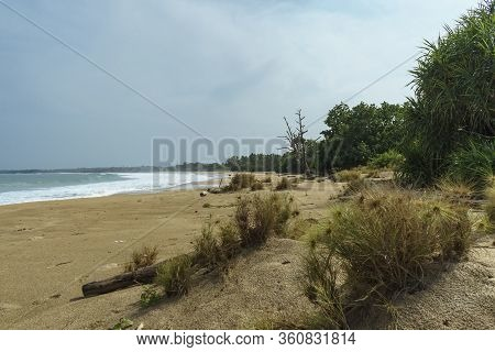 Nice Long Wild Beach Perfect For Surfing Or Camping Where Nobody Around Found In Lampung, Sumatra, I