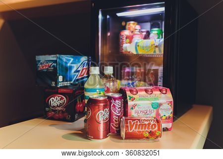 Ufa, Russia, Soda Shop, 3 July, 2019: Grocery Store Shelf With Various Brands Of Soda In Cans. Pepsi