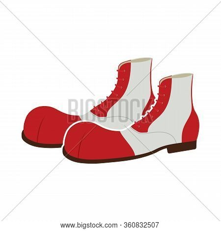 A Pair Of Clown Shoes. Vector Illustration On White Background.