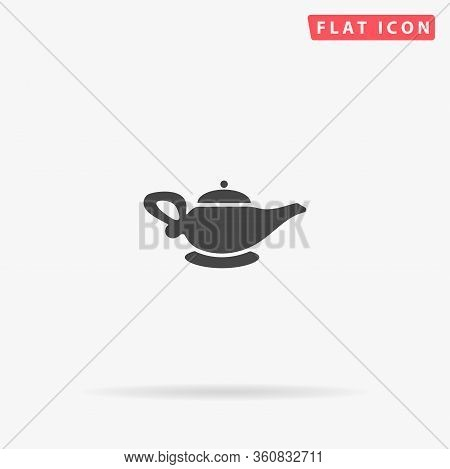 Alladin Lamp Flat Vector Icon. Glyph Style Sign. Simple Hand Drawn Illustrations Symbol For Concept