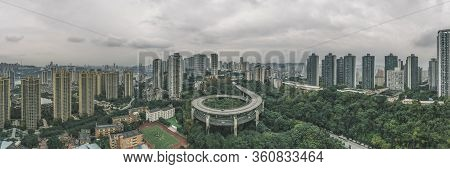 Aerial Pano Drone Shot Of Particular Double Circle Flyover Road In Densed Residential Buildings In C