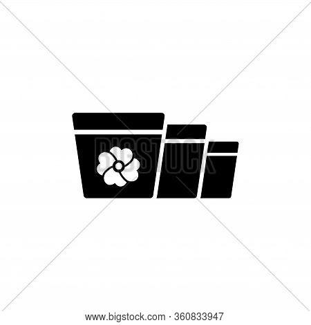 Gardening Terracotta Pot, Flowerpot. Flat Vector Icon Illustration. Simple Black Symbol On White Bac