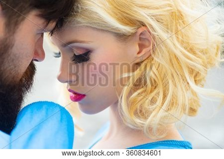 The Lovely Couple In Love Looking At Each Other. Portrait Of Romantic Couple In Love. Concept Of Ten