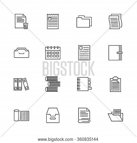 Documents, Paper, Sheet Outline Icons Set - Black Symbol On White Background. Documents, Paper, Shee