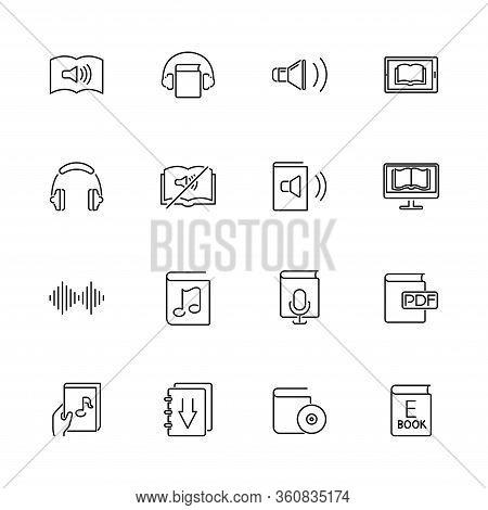 Ebooks, Audiobook, Library Outline Icons Set - Black Symbol On White Background. Ebooks, Audiobook S