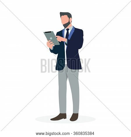 Flat Character Illustration Businessman Bring A Tabs And Work With Standing. Suitable For All Needs,