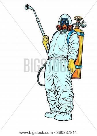 Disinfection Suit Protection Epidemic Virus Bacterium Infection. Pop Art Retro Vector Illustration K