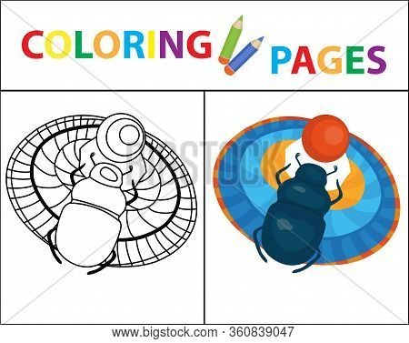 Coloring Book Page. Scarab Beetle. Sketch Outline And Color Version. Coloring For Kids. Childrens Ed