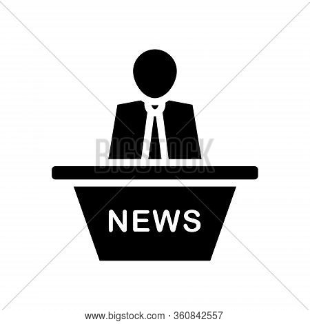 News Broadcast Icon On A White Background. Editable Stroke
