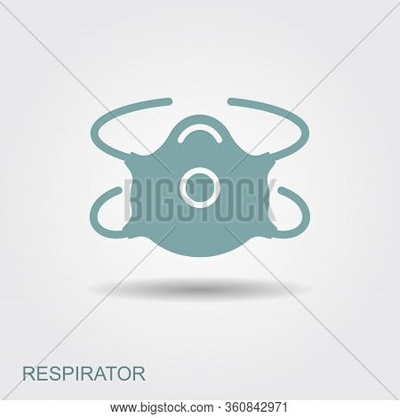 Respiratory Protection Mask Vector Illustration. Flat Icon With Shadow