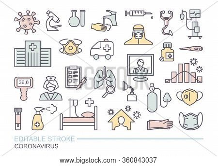 Collection Of Icons Related To Coronavirus. Prevention, Protection, Treatment. Linear Icons With Edi