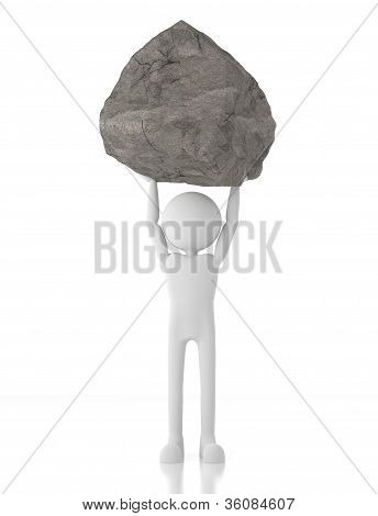 3D Person Lifts A Heavy Rock With No Effort.