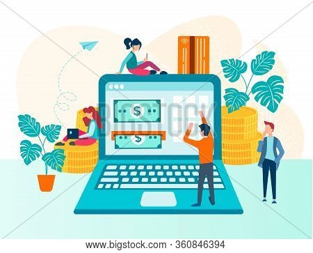 Online Payment Transaction Through The Internet Concept Vector Illustration. Money Circulation In Th