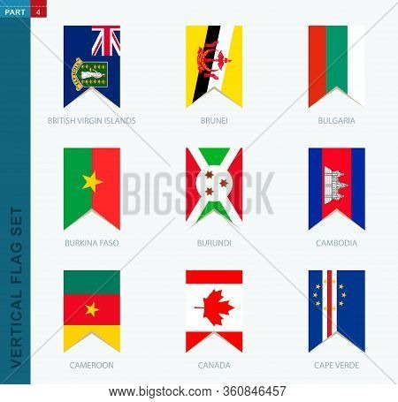 Nine Vector Vertical Flag Set. Vertical Icon With Flag Of British Virgin Islands, Brunei, Bulgaria,